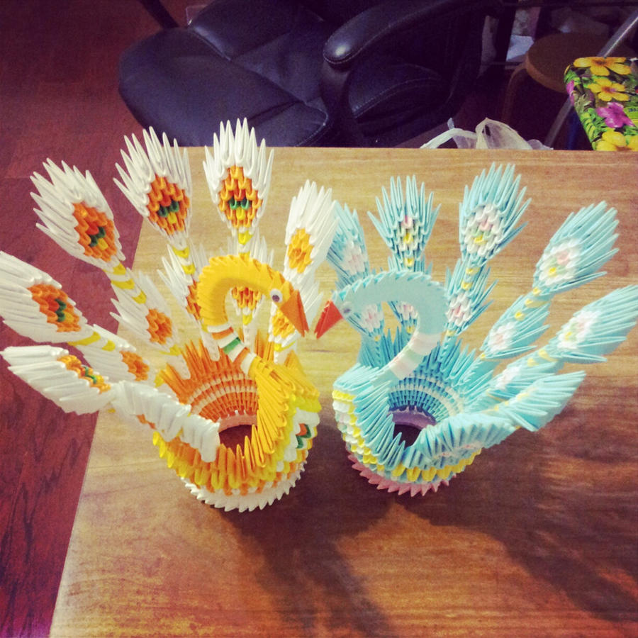 3D Origami Peacocks Couple By Chingu99