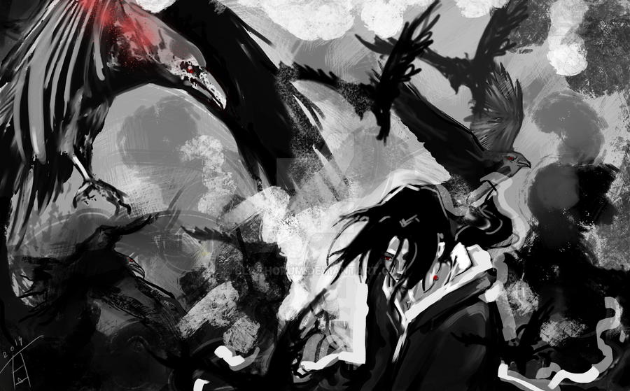 Itachi And Crows By Blachorum
