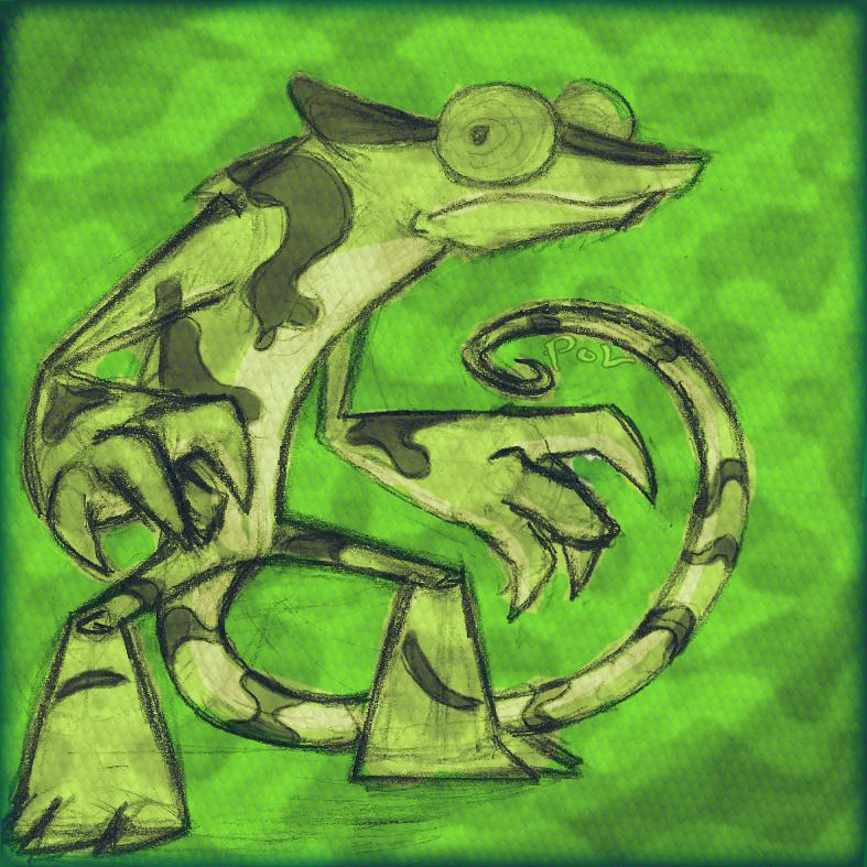 Camaleon boceto pintado by SaPov