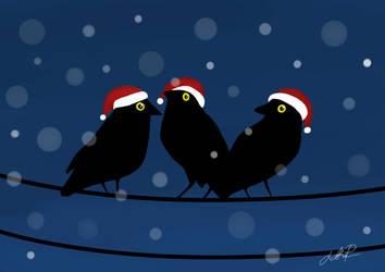Jackdaws Christmas card by xFwankiex