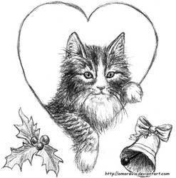 Xmas envelope kitten :D by Amarevia