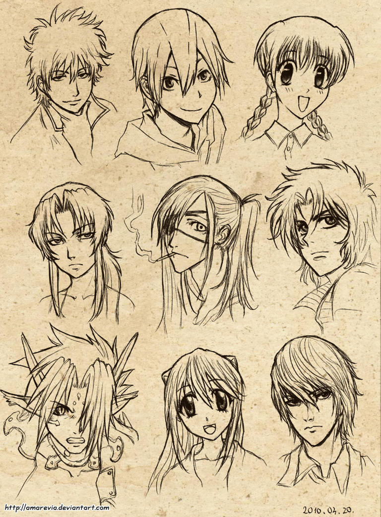 Anime Character 2 : Anime character doodles by amarevia on deviantart