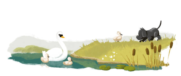 Dandy and the swans