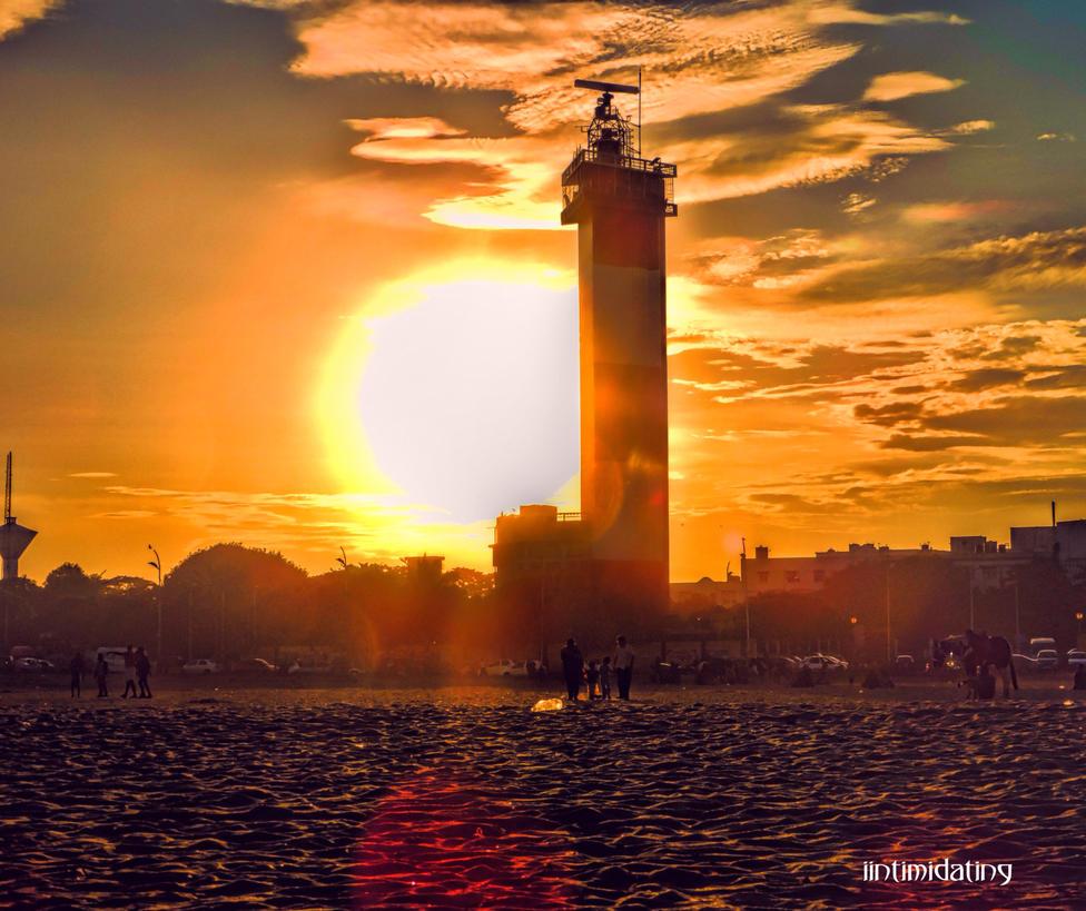 marina beach chennai  ( sunset) by iintimidating