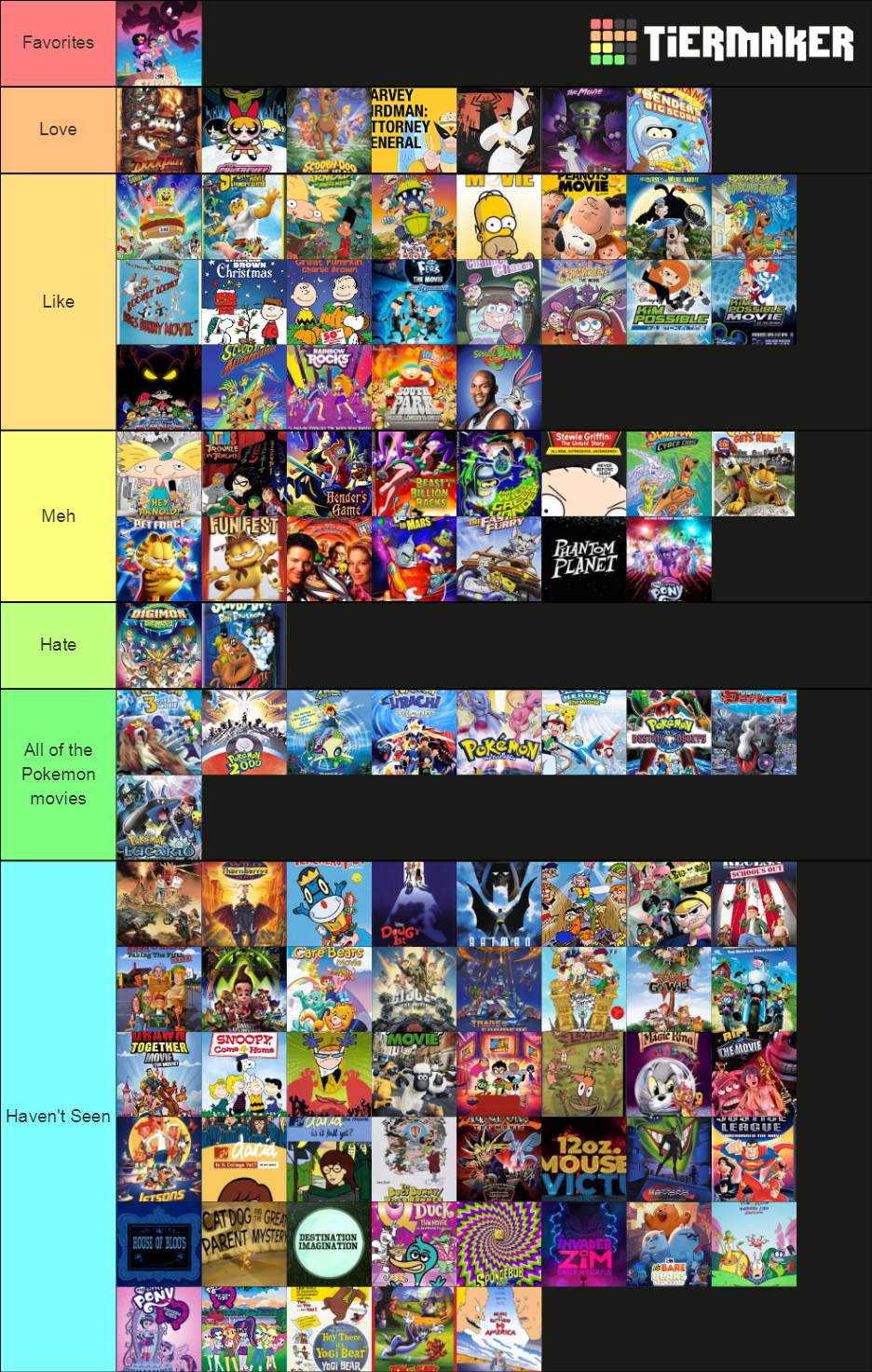 Movies Based Off Cartoons Tier List By Grecovamp On Deviantart