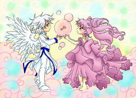 Chibi Helios and Rini by isabellaealvarez
