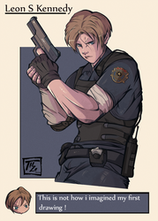 RE 2 Remake Leon Kennedy character art by Sparxanders