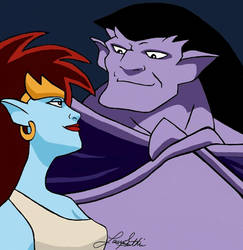 Demona and Goliath by KissofCrimson
