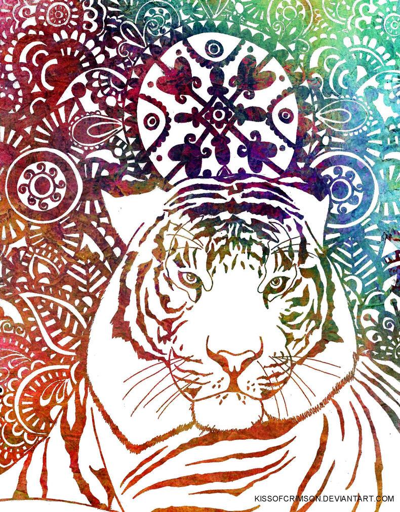 Tiger Watercolor Art by KissofCrimson