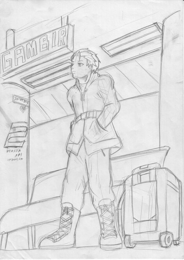 waiting in the train station by Prafa-AR