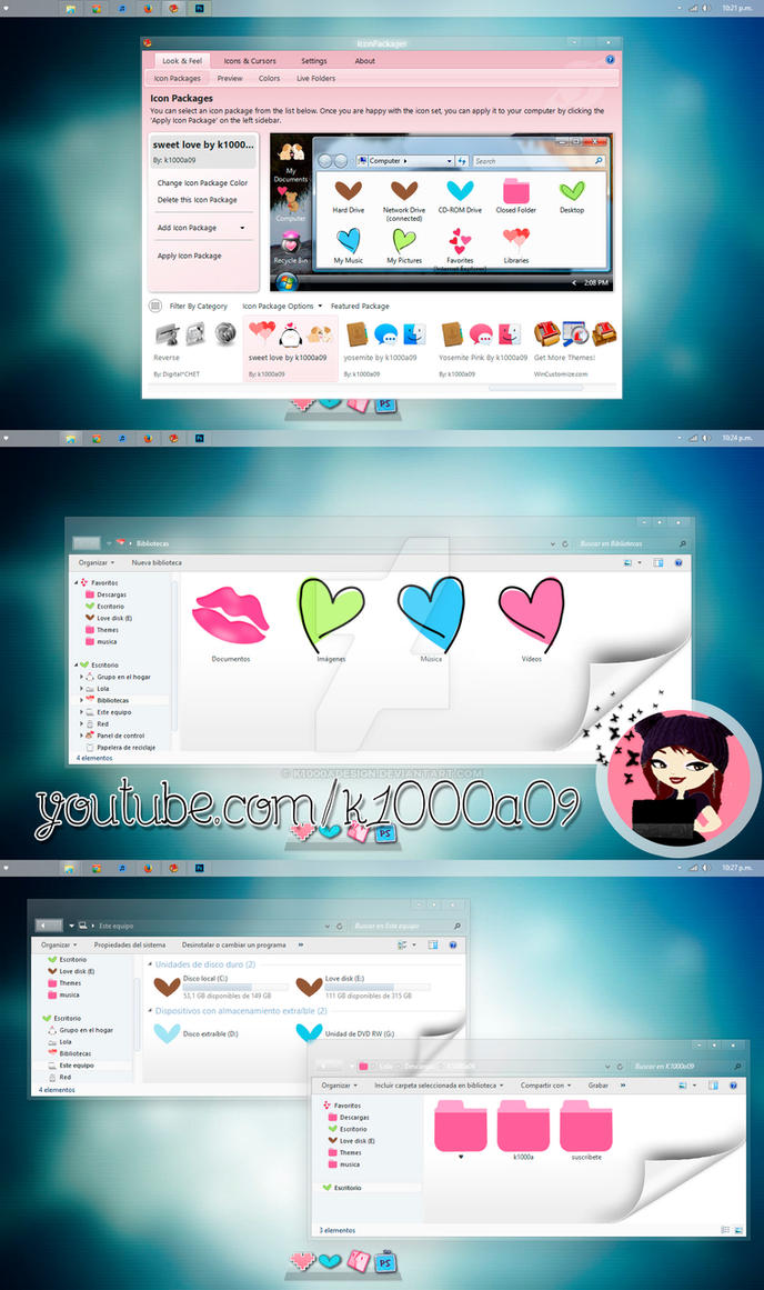 Sweet Love theme Iconpackager by k1000adesign