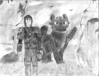 Hiccup and Toothless by NobodyX7