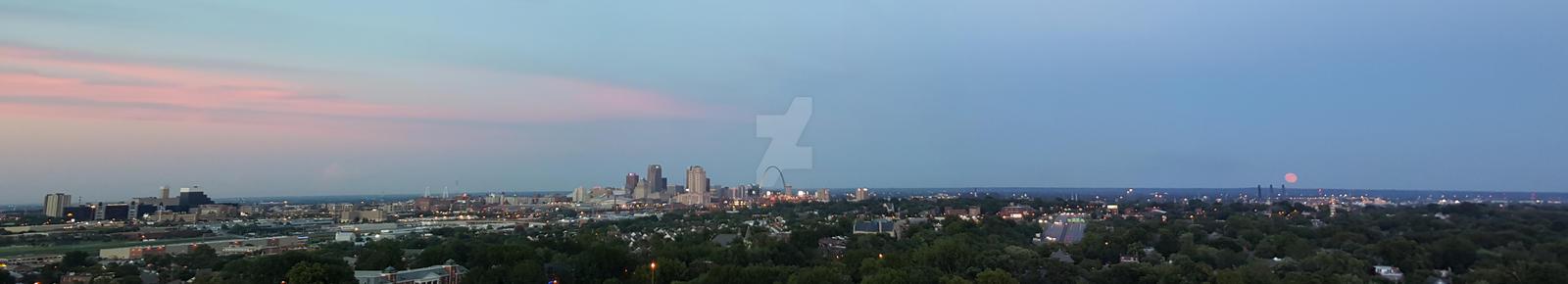 Saint Louis Skyline on a Blue Moon