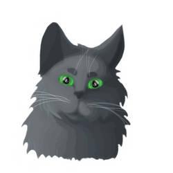 Bluegrey Cat Digital Painting Practice WIP