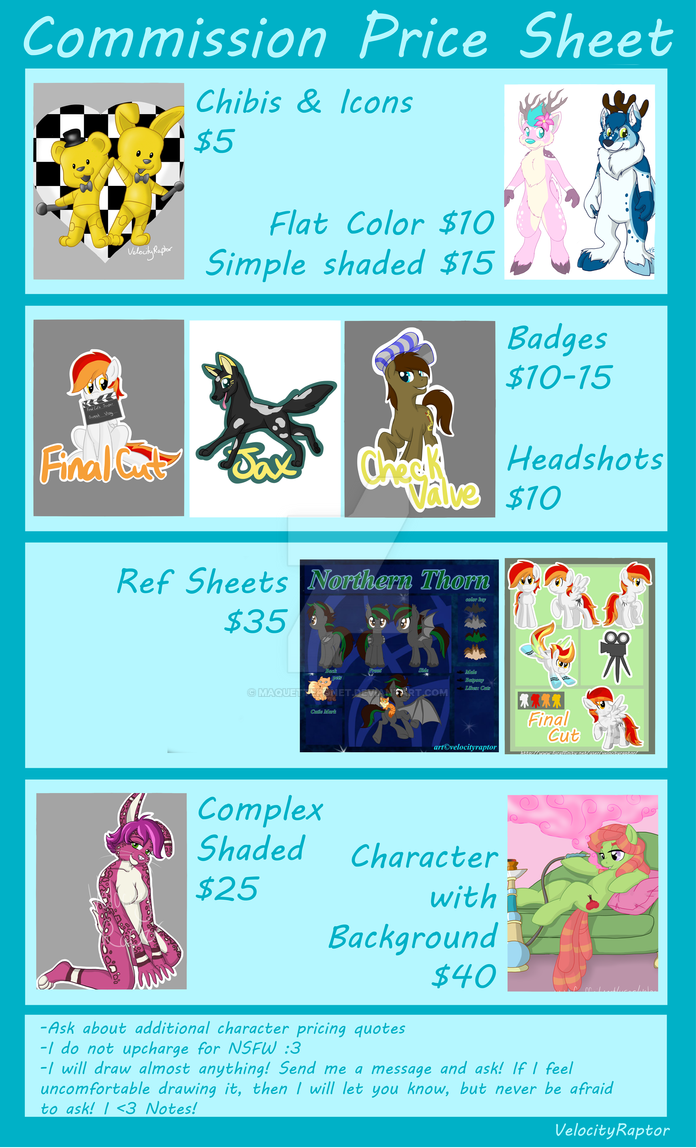 Commission Price Sheet by MaquettePonet