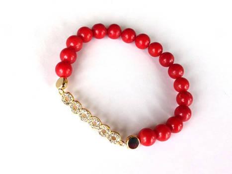 Coral Bracelet, Beaded Bracelet,Elastic Bracelet
