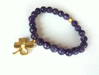 Amethyst Bracelet,  Elastic Bracelet,4 Leaf Clover