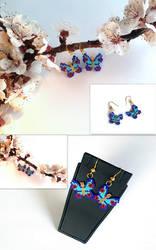Beaded Earrings, Butterfly Earrings, Minimalist