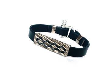 Beaed Bracelet, Peyote Bracelet, Leather Bracelet