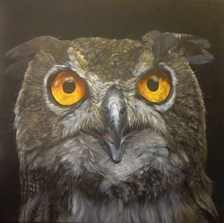 Owl - acrylic paints on a stretched canvas