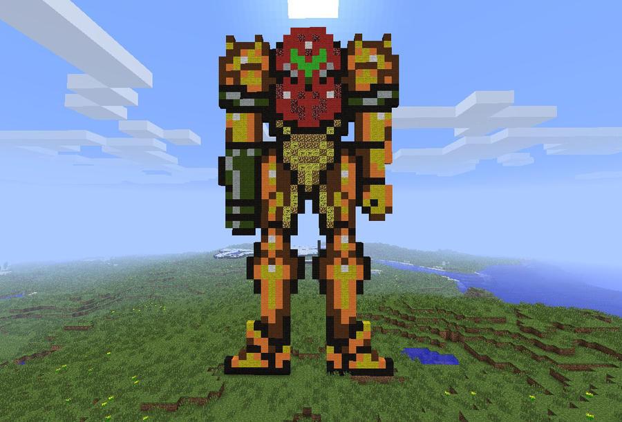 Minecraft Pixel Art Series - Samus Aran by LoneSilverwind