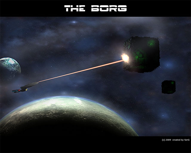 Enterprise vs BORG cube by sergbel