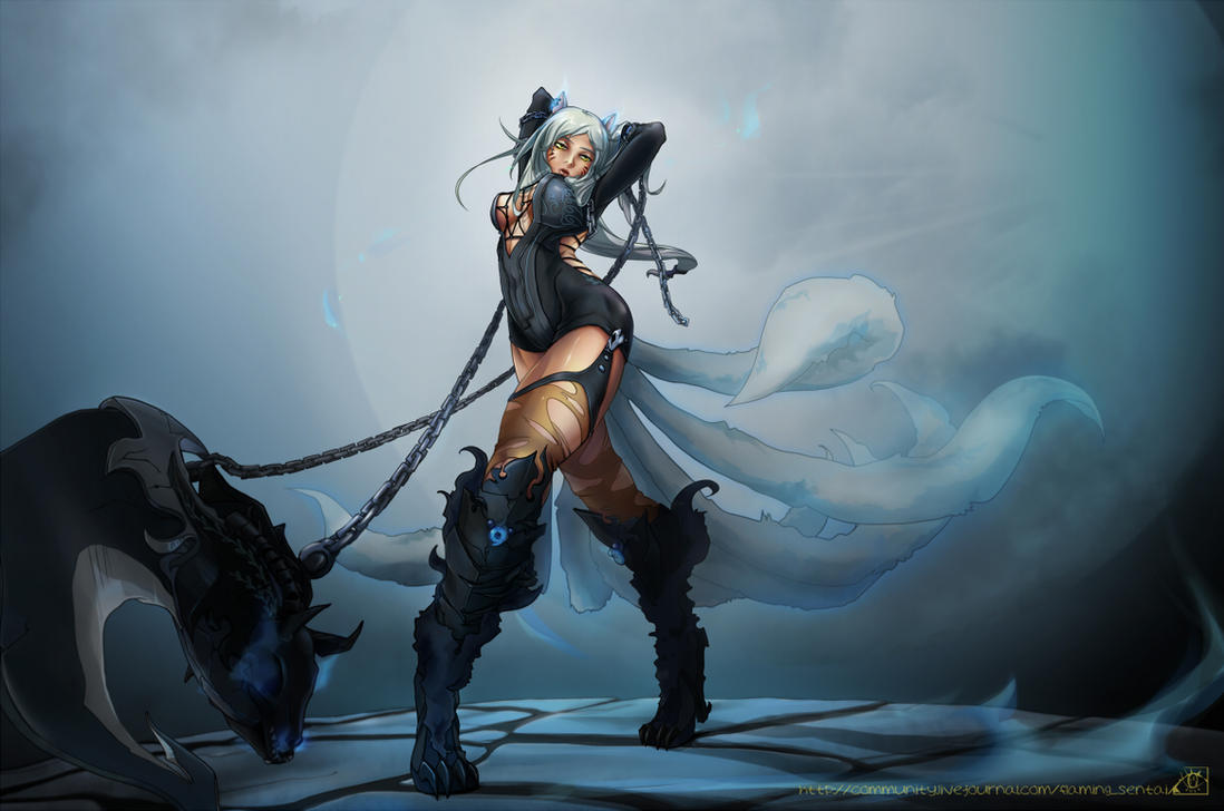 LoL - ahri custom reaper skin complete by Rikkumaru
