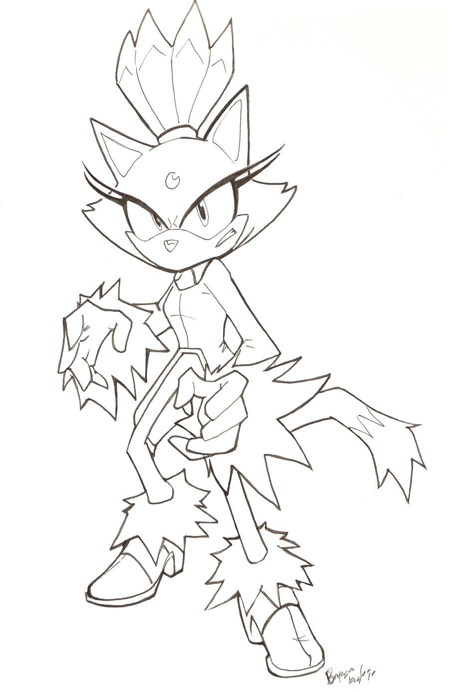 Blaze the cat by vauz on deviantart for Blaze the cat coloring pages