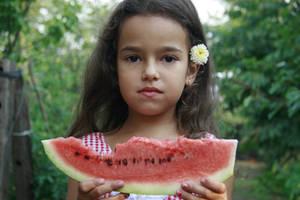 Wattermelon Little Girl Portrait 2 by little-girl-stock