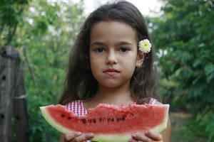 Wattermelon Little Girl Portrait 3 by little-girl-stock