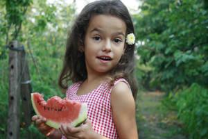 Wattermelon Little Girl Portrait 5 by little-girl-stock