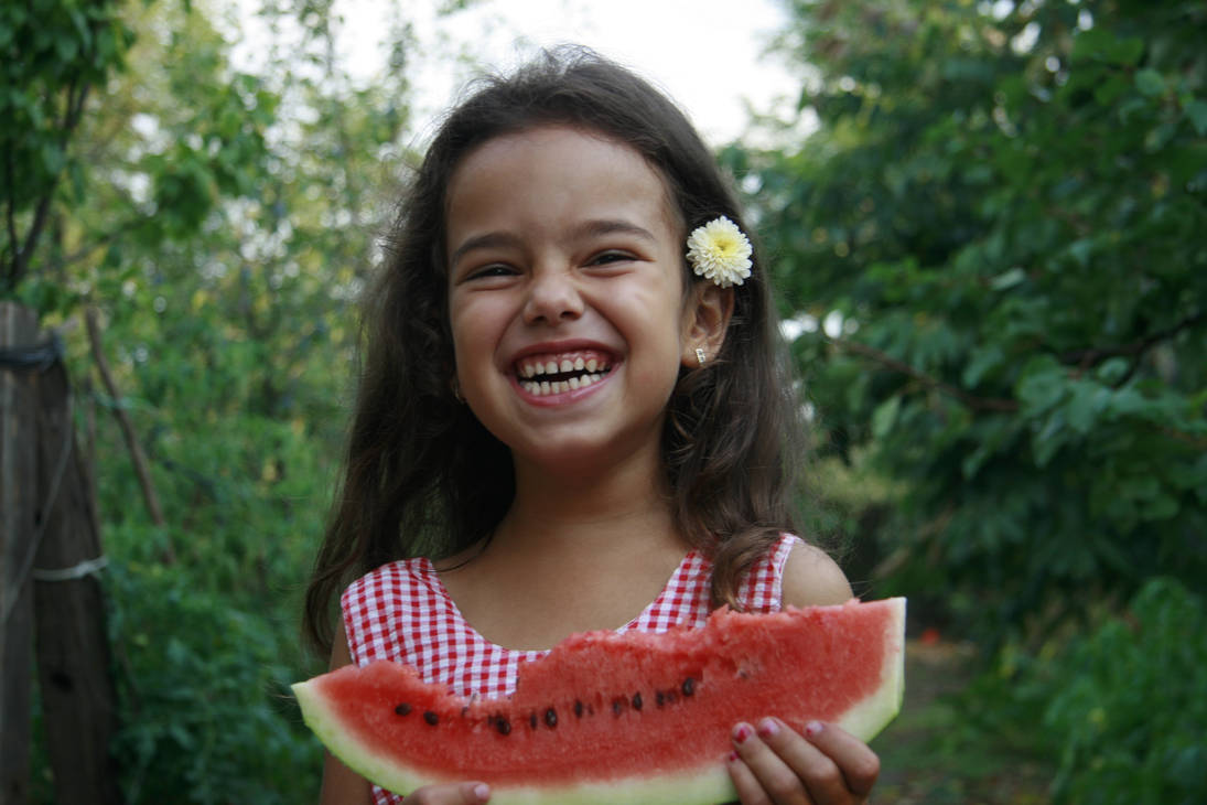 Wattermelon Little Girl Portrait 7