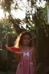 Wattermelon Little Girl Portrait 10