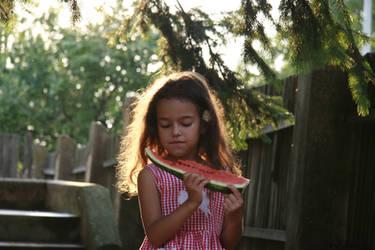 Wattermelon Little Girl Portrait 13