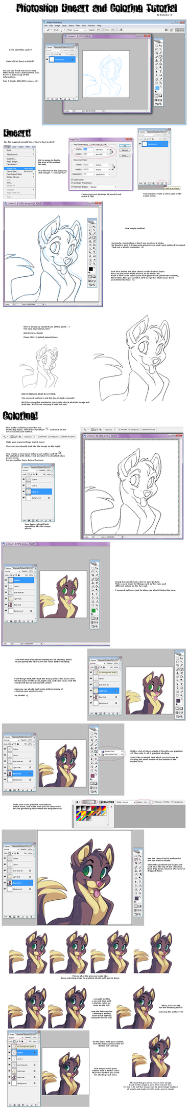 Photoshop Lineart-Coloring Tut by Kuitsuku