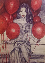 Selena Gomez - Ballpoint pen by withlove-marcela