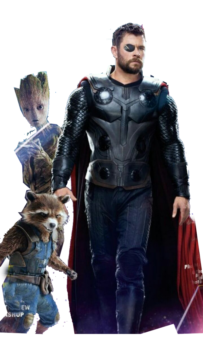 avengers infinity war - thor, rocket and groot by ggreuz on deviantart