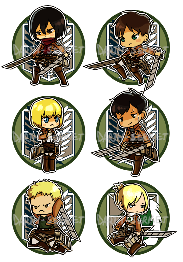 Attack on Titan - Button Set 1 by Rixari
