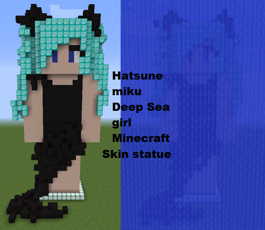 Deep sea girl minecraft skin statue front by Pandabearface