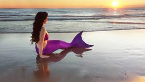 Mermaid sitting on beach