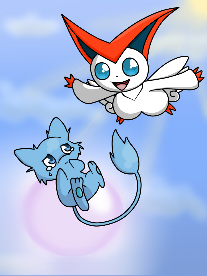 victini and mew by sasodeifangirl13 on DeviantArt