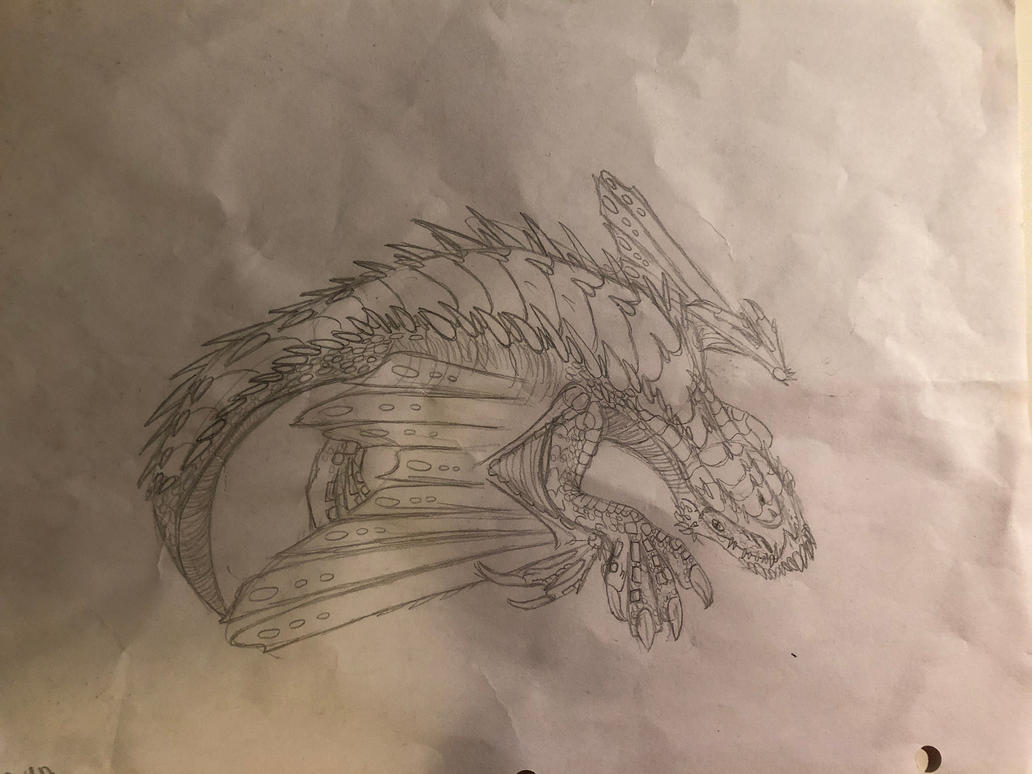 Burrowing Dragon#1-Sketch by TheDracoDrawer123