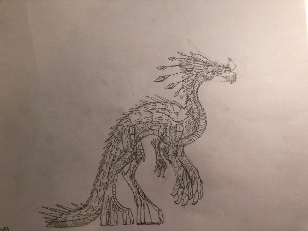 Burrowing Dragon#2-Sketch by TheDracoDrawer123