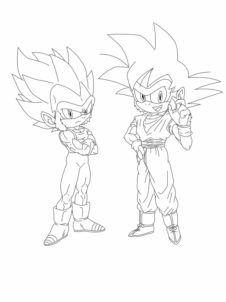 Goku vs sonic coloring pages coloring pages for Goku and vegeta coloring pages