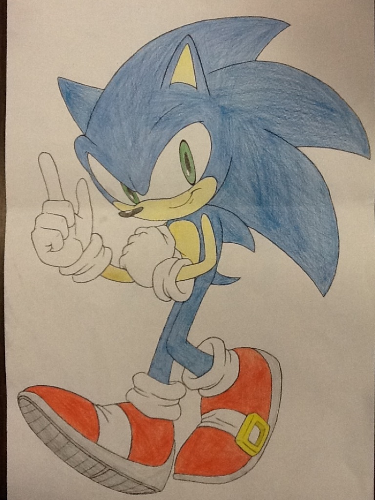 Sonic The Hedgehog COLORED Traditional Drawing By Delvallejoel