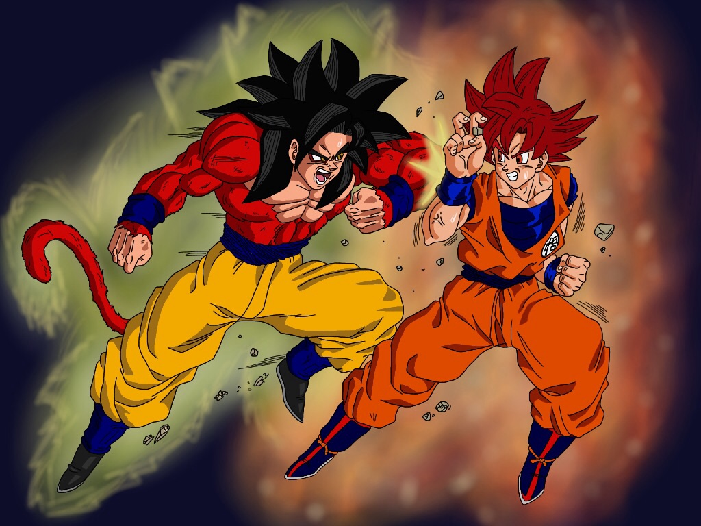 Super Saiyan 4 Vs God By Delvallejoel