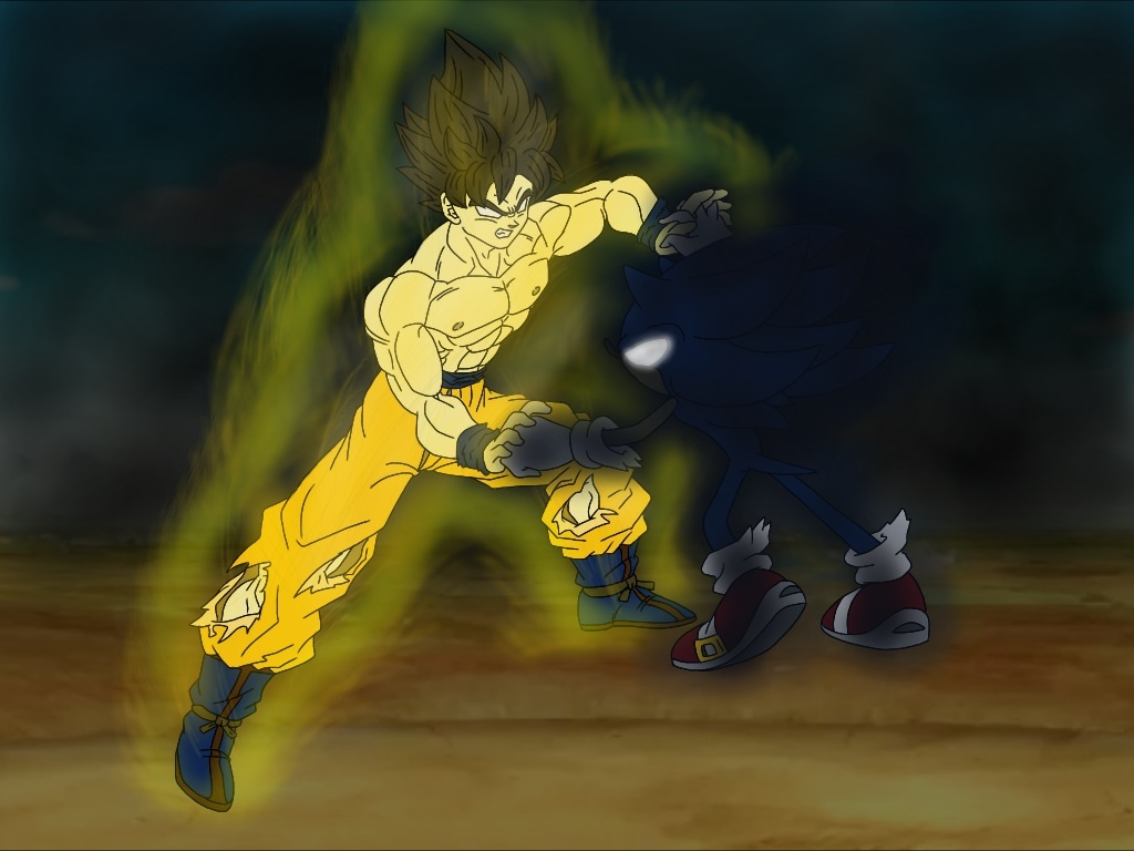 Pseudo Super Saiyan Goku vs. Dark Super Sonic by ...