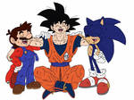 Goku, Mario and Sonic laughing (battle scratches)