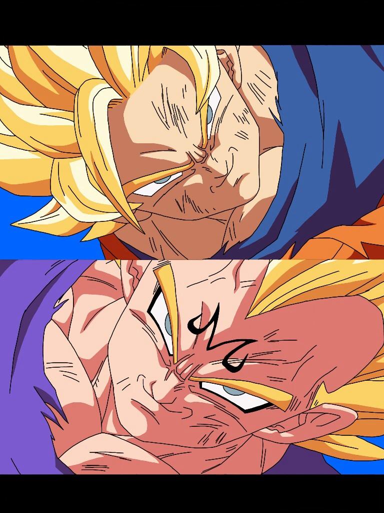 SSJ2 Goku Vs Majin Vegeta W Out Blood By Delvallejoel
