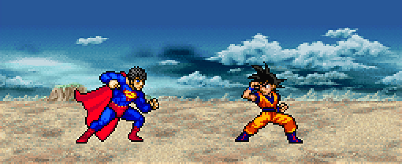 Goku vs Superman JUS style by delvallejoel